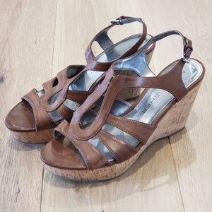 Brown Leather Cork Heel Wedges